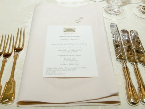 Wedding venue and event venue menu table setting at London's magnificent Spencer House