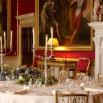 Table decorations for wedding reception at Spencer House in London